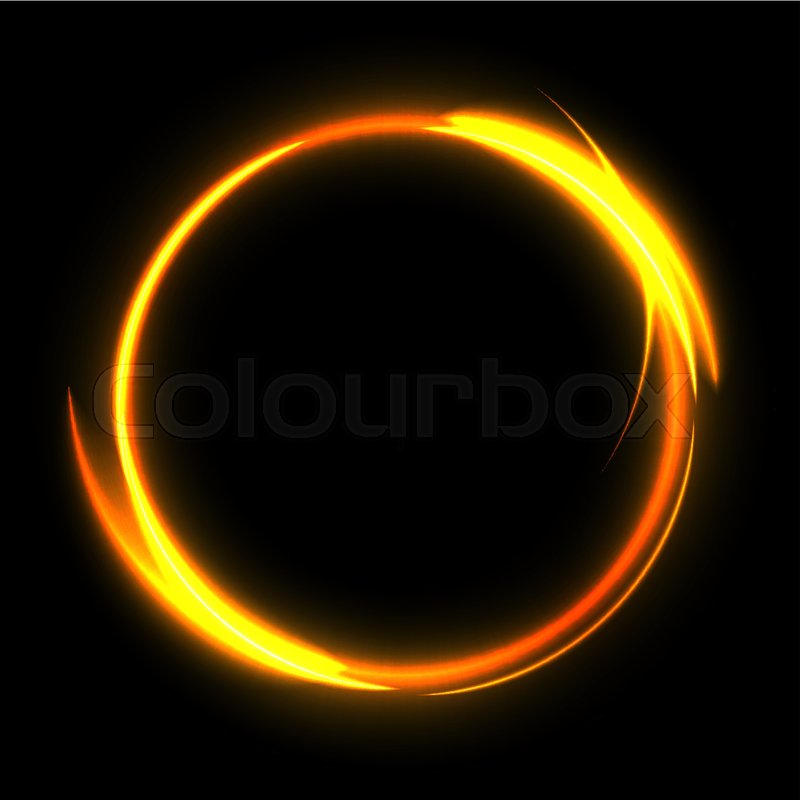Fire Circle On Black Background. Fire Ring Glowing Trace. Vector Fire Gold  Circle. | Stock Vector | Colourbox