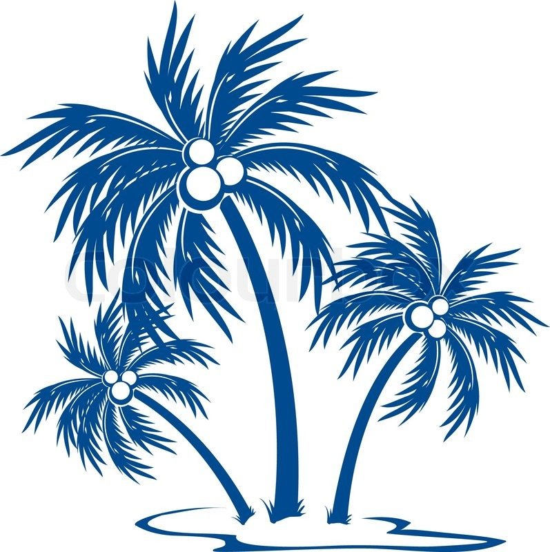 Stock vector of 'Silhouette Palm trees with coconuts One-colour vector symbol on white'