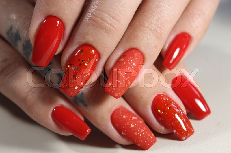Long Beautiful Red Nails Effective Manicure Design
