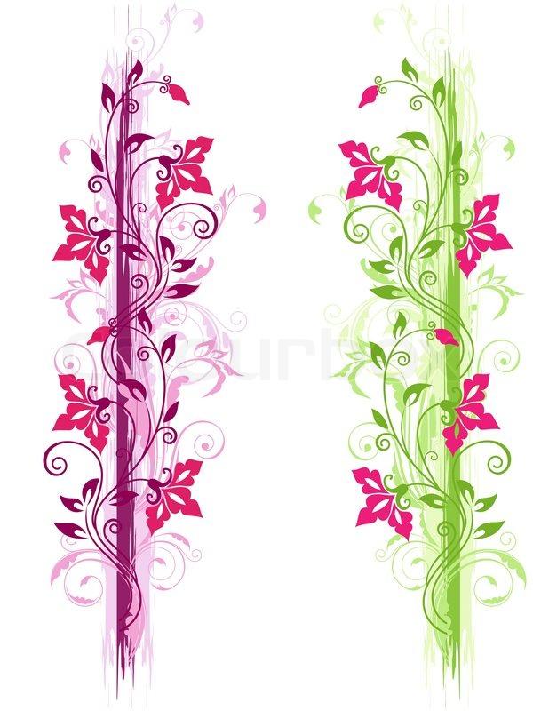 floral grunge ornament mit gr n und violett ornament und roten blumen vektorgrafik colourbox. Black Bedroom Furniture Sets. Home Design Ideas