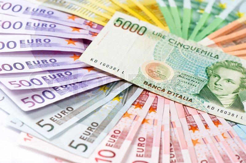 Gamle italienske lire dens ingen eksisterende penge end euro sedler   Stock Billede   Colourbox