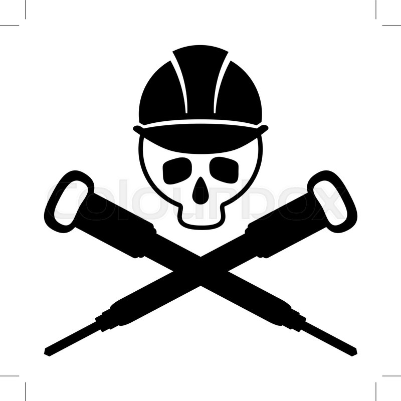 Black And White Picture Of The Skull In The Building Helmet Crossed