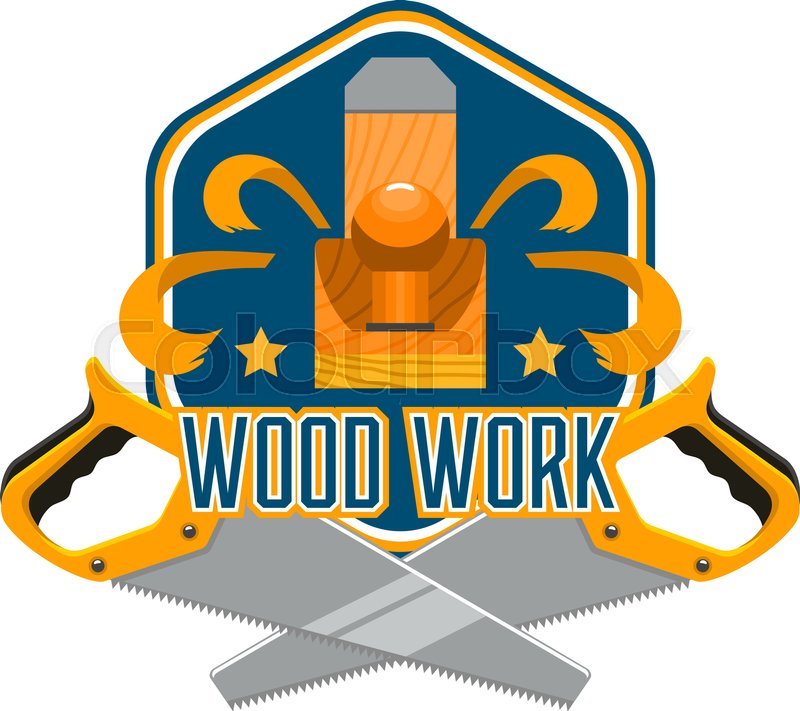 Tool for woodworking isolated badge     | Stock vector | Colourbox