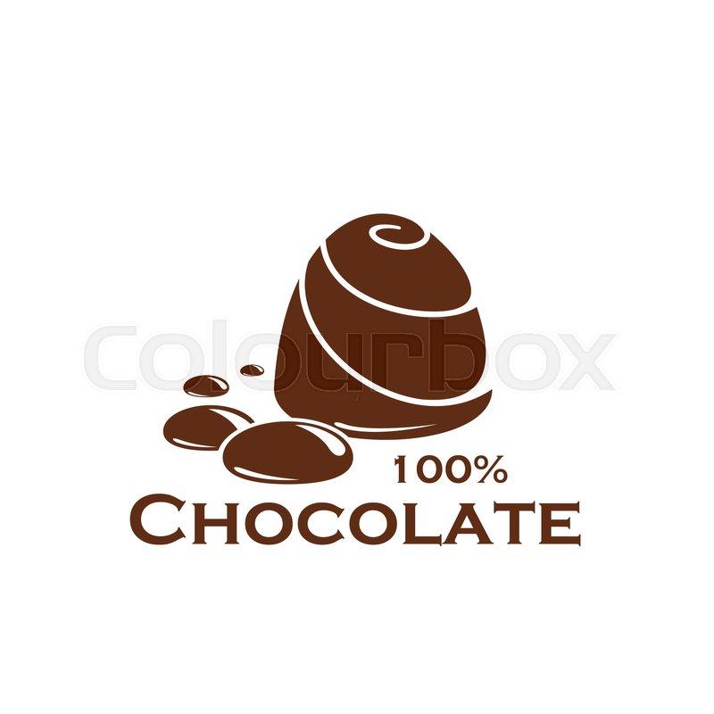 Chocolate Icon Of Sweet Dessert Food. Dark Chocolate Candy