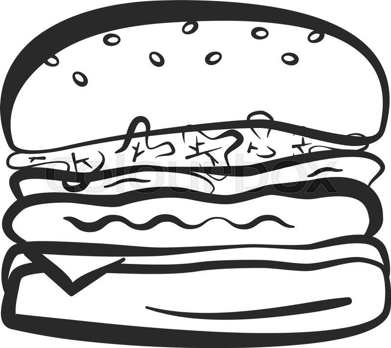 Black Isolated Vector Outline Hamburger Icon Minimalistic Cartoon