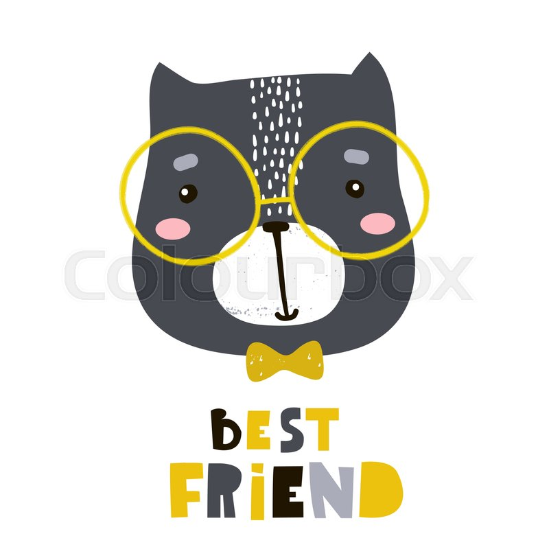 Cute Cartoon Cat Face Print Childish Stock Vector Colourbox