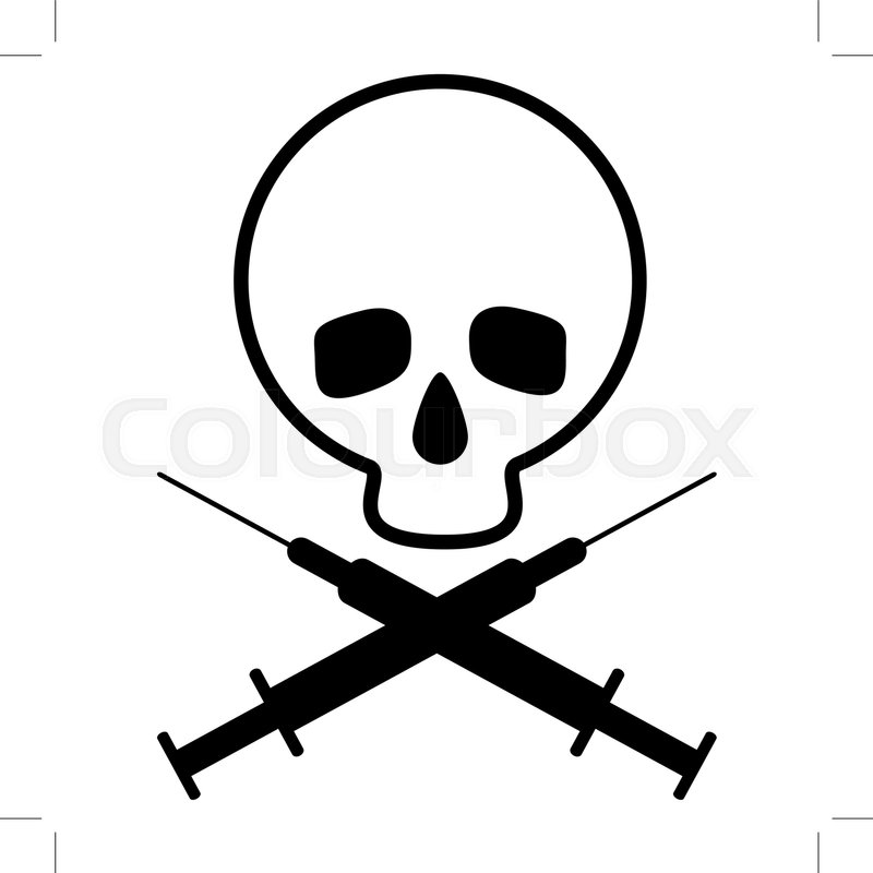Skull With Crossed Syringes Black And White Icon