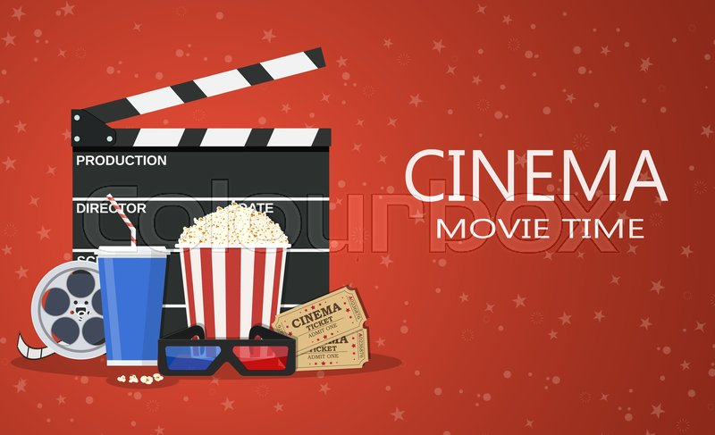movie poster template popcorn soda takeaway 3d cinema glasses