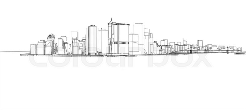 Wire-frame New York City, Blueprint Style. 3D Rendering Vector ...
