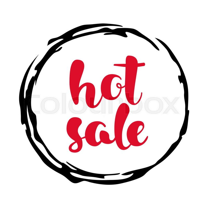 modern sale sticker round label in red black and white hand
