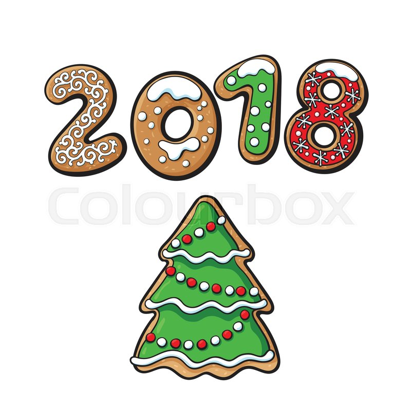 2018 christmas new year greeting card design with xmas tree gingerbread cookie sketch vector illustration on white background 2018 new year greeting card
