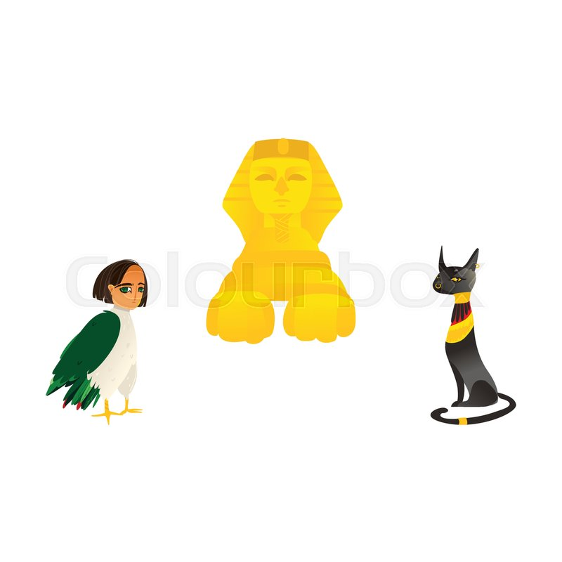 Sphinx Harpy Woman Bird And Bastet Cat Goddess Symbols Of Egypt