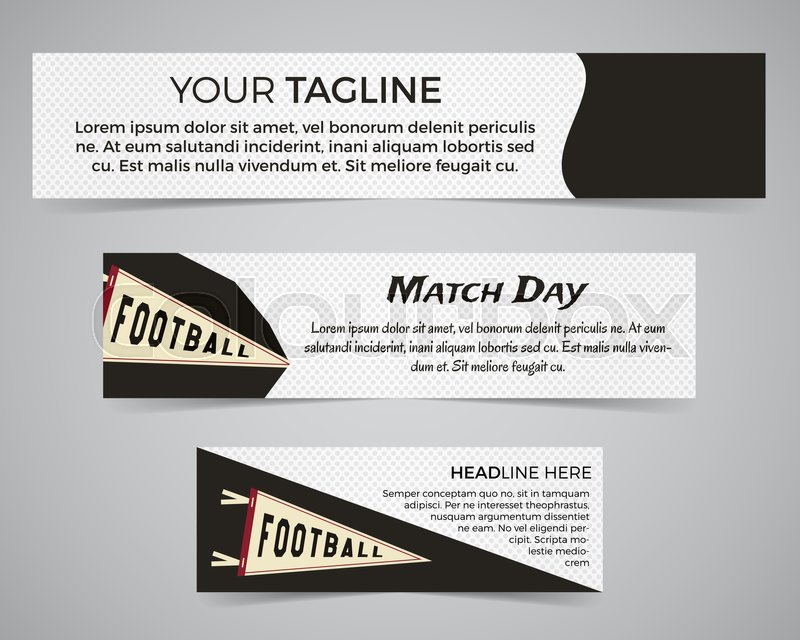 Set Of American Football Banner Template With Soccer Logo Label And Badge Stylish Bright Identity Design Best For Sport Magazines On Web Or Print