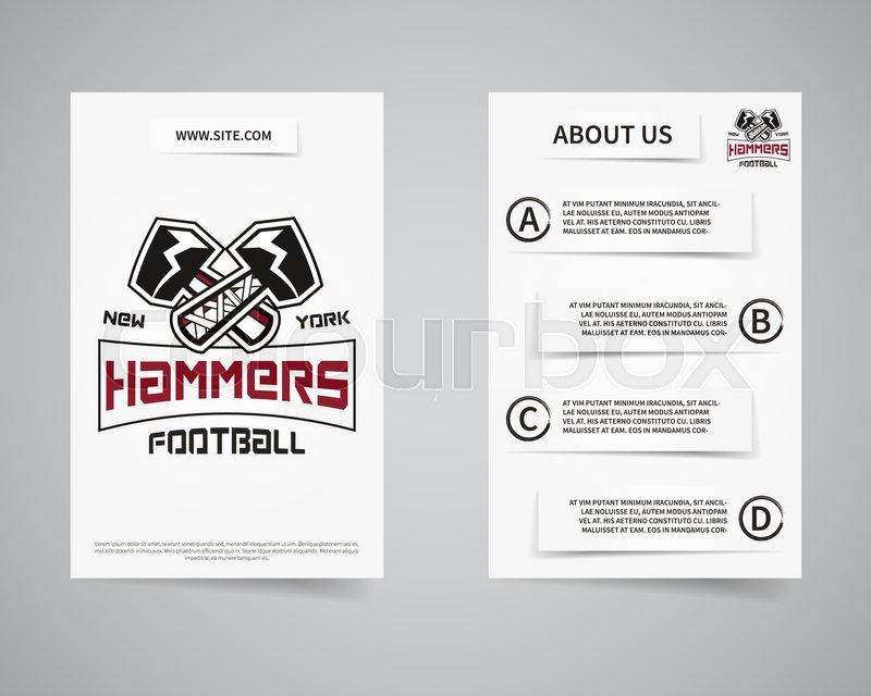 american football team presentation flyer template design usa sport brand identity letterhead poster brochure and banner with typography team logo and