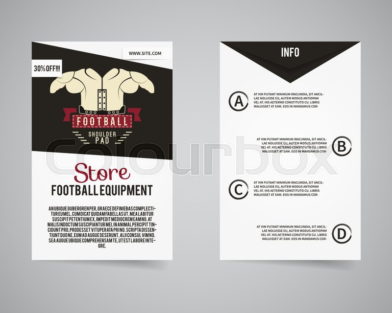 american football equipment store back and front flyer template design usa sport brand identity letterhead gear poster and brochure with typography and