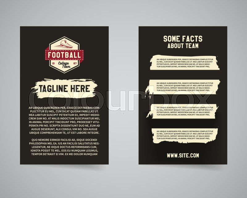 American football university team back and front flyer template american football university team back and front flyer template design usa sport brand identity letterhead event poster and banner with typography and spiritdancerdesigns Image collections