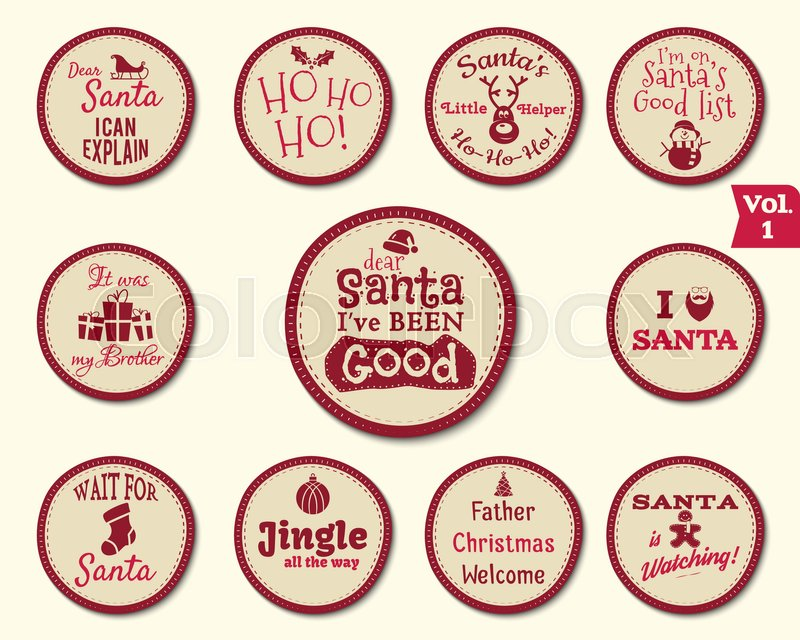 christmas badge and design elements with funny signs quotes for kids new year labels and holiday elements collection isolated on white background