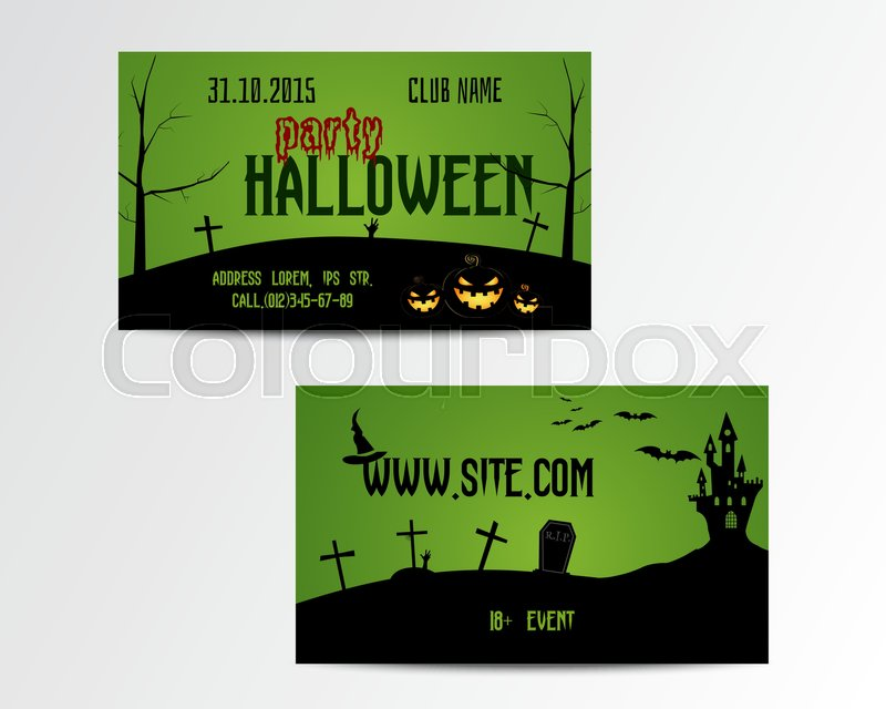 happy halloween greeting card vector illustration party invitation
