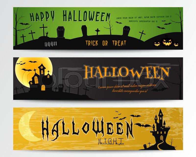 Three halloween banners green dark and orange designs can be use green dark and orange designs can be use on web print as invitation flyer card halloween poster etc nice design for celebration halloween stopboris Choice Image