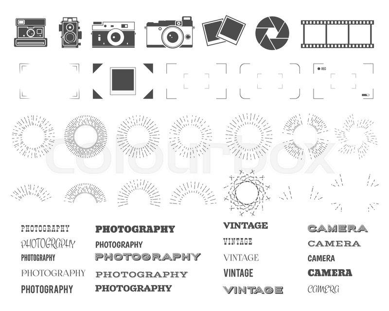 Photography Vintage And Retro Symbols Ribbons Frames Sunburst