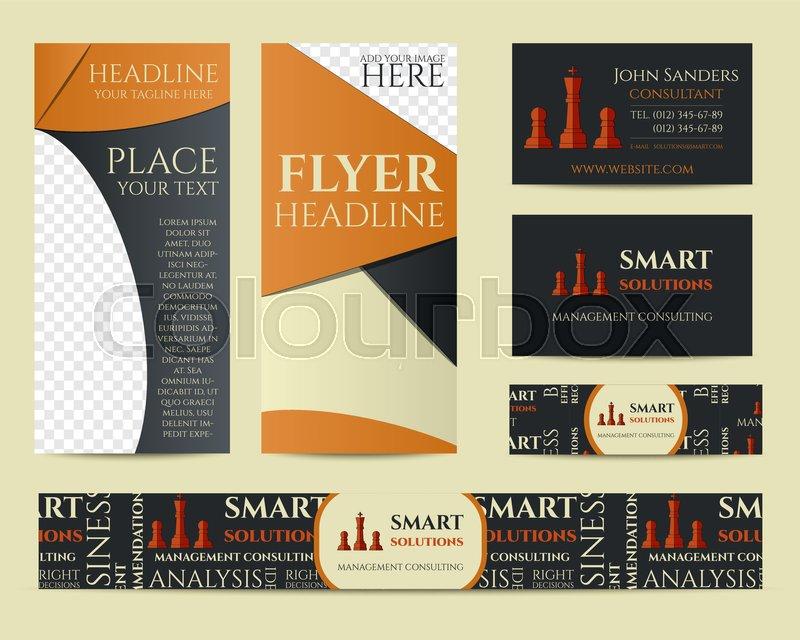 Smart solutions business branding identity set. Flyer, brochure ...