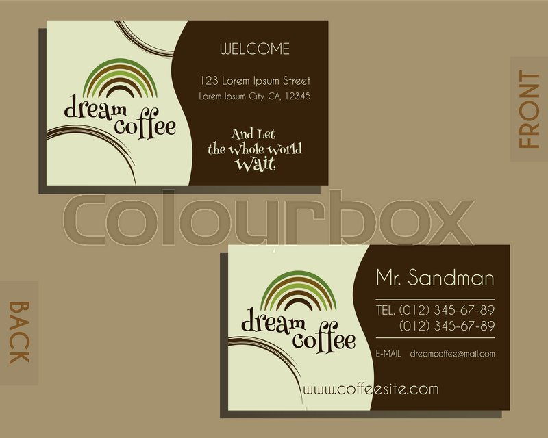 Brand identity elements - visiting card template. For cafe ...