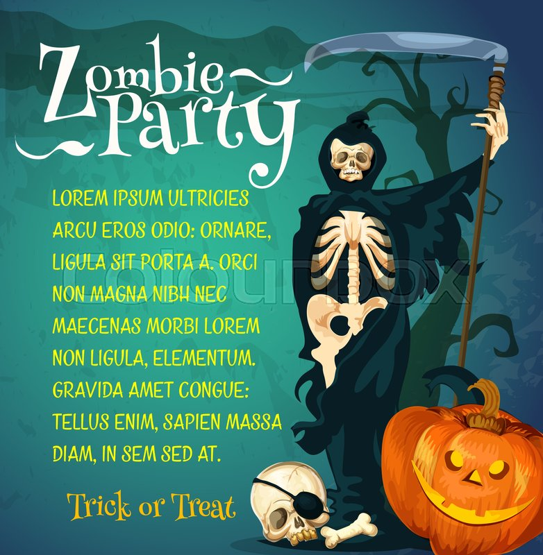 Halloween zombie party poster of october holiday celebration ...