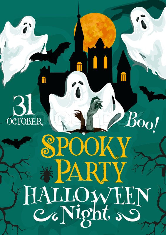 Halloween night party poster for 31 October holiday invitation to – Scary or Horror Invitation Cards