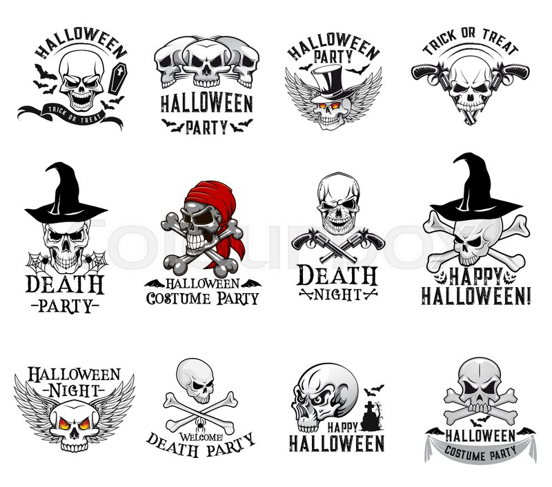 halloween skull and crossbones icons for trick or treat night party