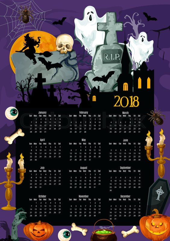 Halloween holiday calendar with traditional symbols. 2018 year