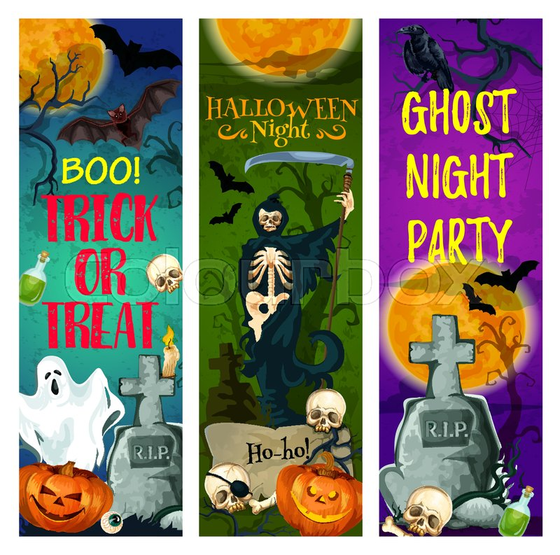 Halloween ghost party banner of october holiday. Halloween night cemetery with pumpkin lantern and bat, skeleton skull and gravestone, death or grim reaper with scythe for greeting card, poster design, vector