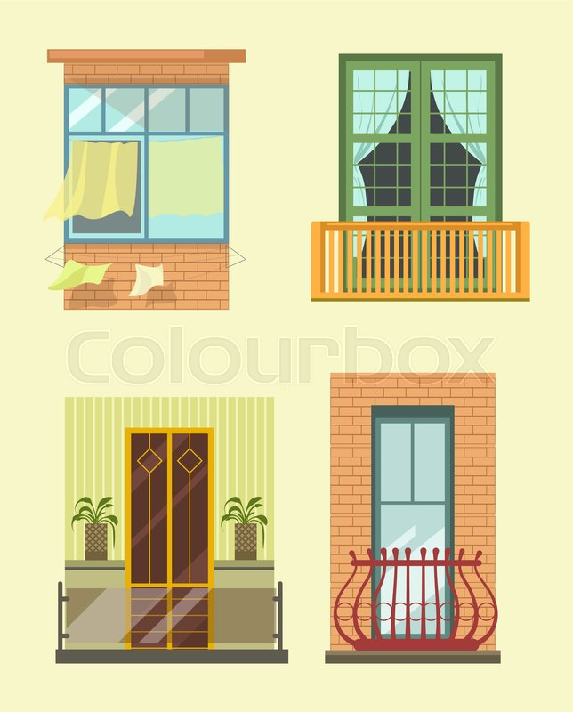 House windows and balcony exterior facade decor of different styles ...