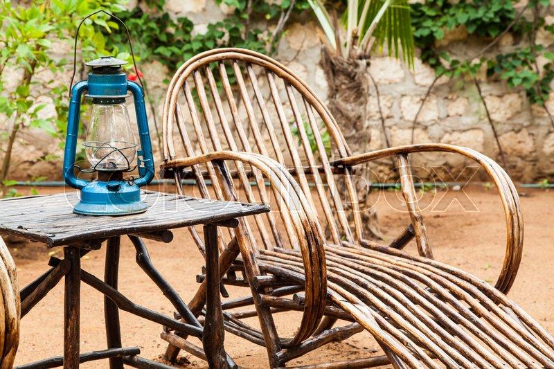 African Garden Furniture Kenya elegant furniture made of wood in an african garden stock elegant furniture made of wood in an african garden stock photo colourbox workwithnaturefo