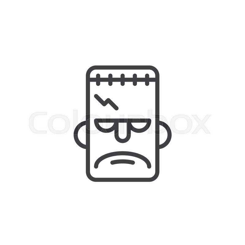 Frankenstein Mask Line Icon Outline Vector Sign Linear Style Pictogram Isolated On White Halloween Holiday Symbol Logo Illustration