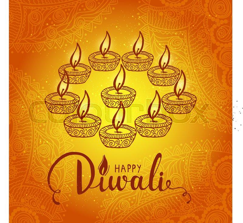 Elegant card design of traditional indian festival diwali with lamp elegant card design of traditional indian festival diwali with lamp beautiful greeting card for festival of diwali celebration vector m4hsunfo