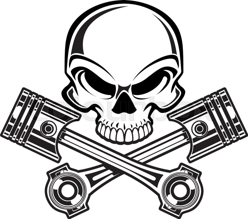 skull with crossing engine pistons