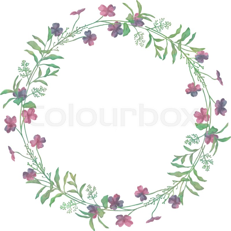 Drawn Watercolor Greenery Wreath Vector Illustration Drawing Isolated Clip Art Hand Image Branches Leaves Flowers