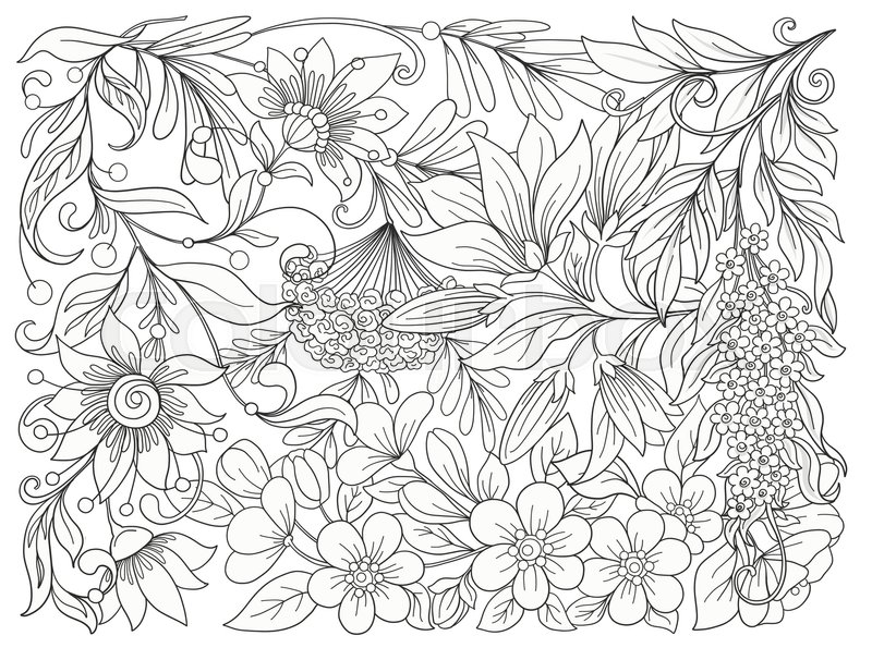 Floral composition spring flowers stock line vector illustration spring flowers stock line vector illustration outline hand drawing coloring page for adult coloring book stock vector colourbox mightylinksfo