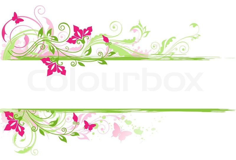 Background with green ornament and pink flowers stock vector background with green ornament and pink flowers vector mightylinksfo Images