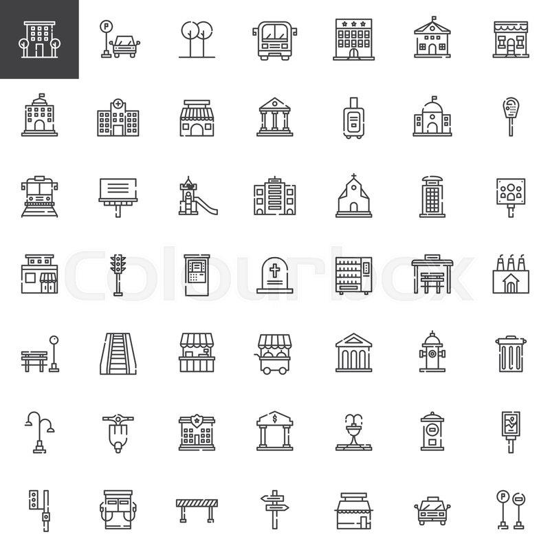 urban infrastructure line icons set outline vector symbol