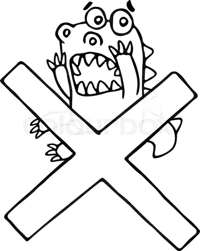 Cartoon funky dragon and big cross     | Stock vector
