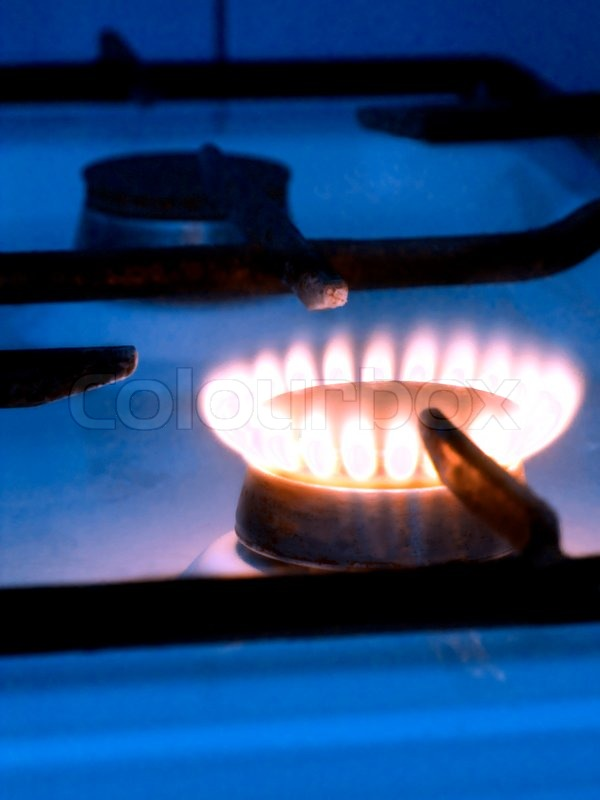 gas stove flame. One Blue Flame On Gas Stove, Stock Photo Stove