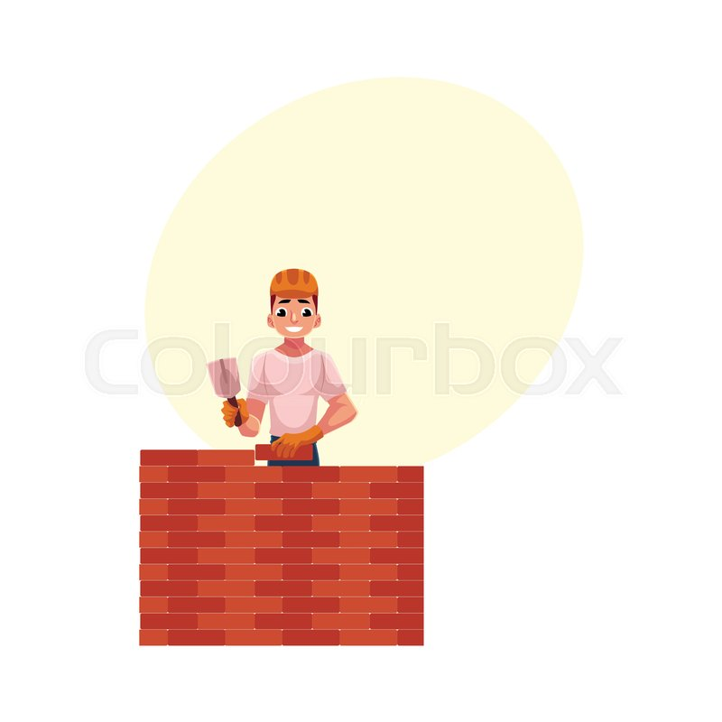 Construction Worker Builder In Hardhat Building Brick Wall Cartoon Vector Illustration With Space For Text Half Length Portrait Of Smiling