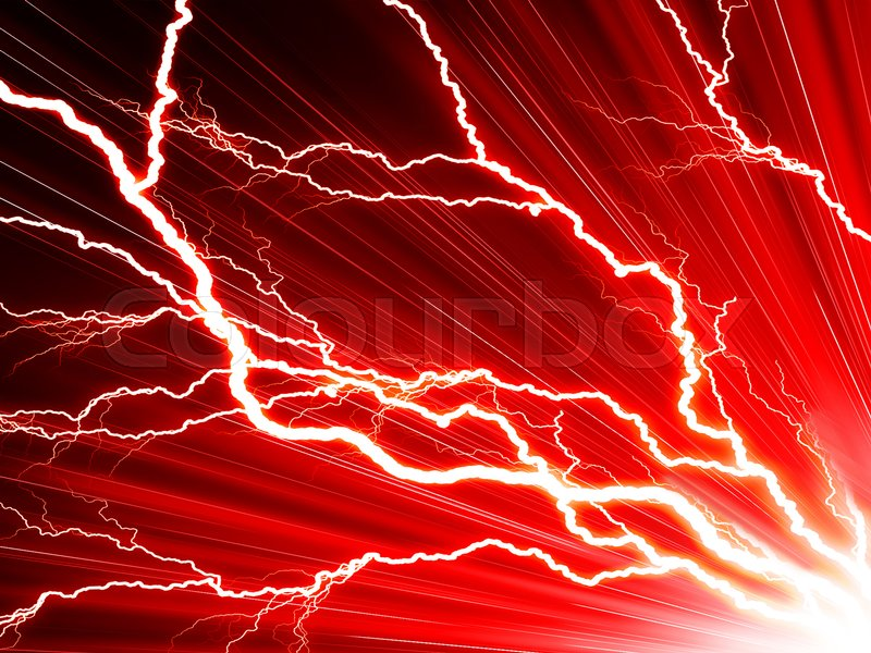 Electric Flash Of Lightning On A Red Stock Image Colourbox