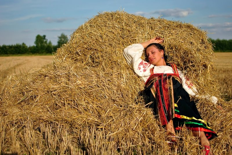 Girl In Traditional Russian Costume   Stock Photo -4196