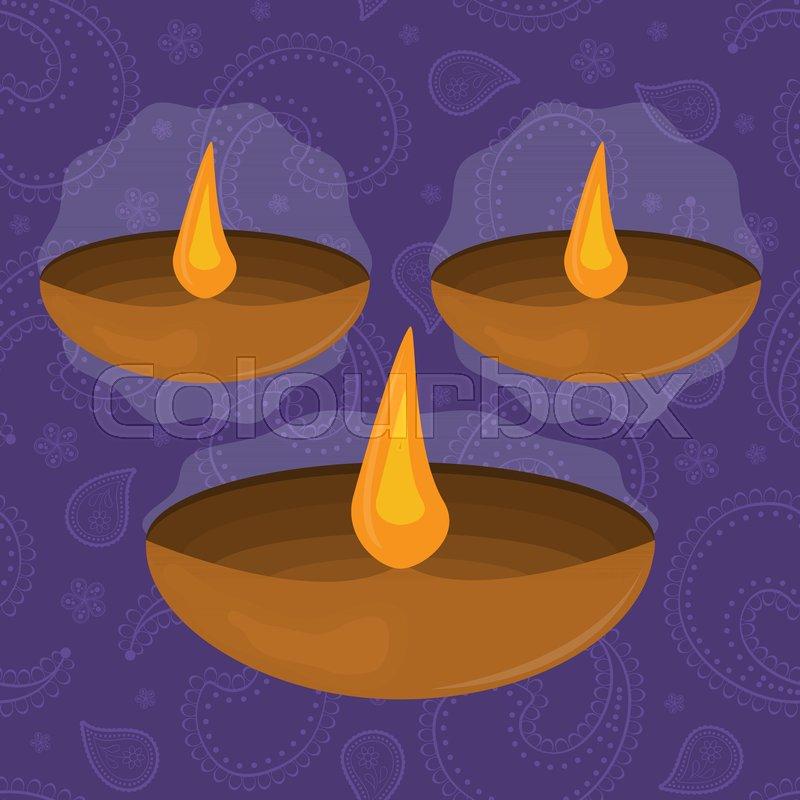 Diwali Festival Of Lights Symbol Vector Illustration Stock Vector