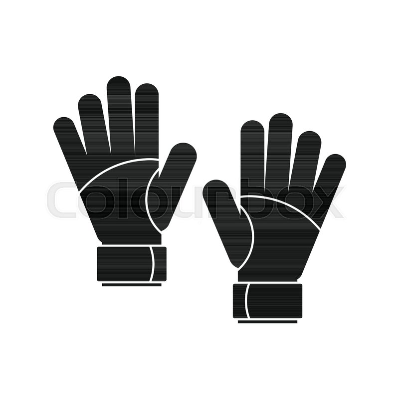 goalkeeper gloves icon black simple silhouette illustration of