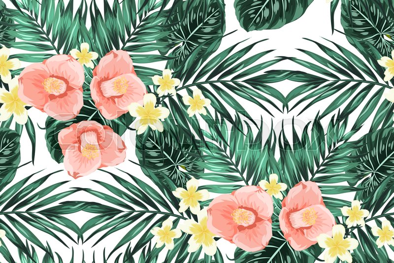 Bright summer seamless pattern texture with green tropical jungle bright summer seamless pattern texture with green tropical jungle palm tree monstera leaves pink camelia and yellow plumeria flowers composition mightylinksfo