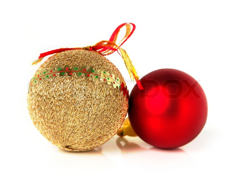 red and gold christmas decorations on white background stock photo colourbox