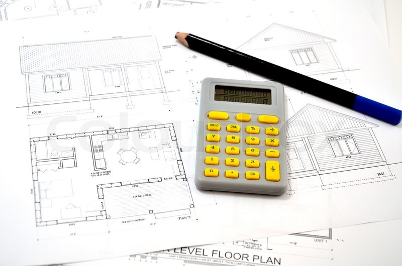 Draft plan of building a house pencil and calculator for Build a house calculator